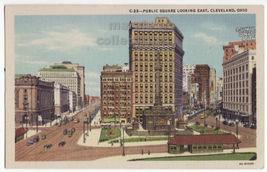 Cleveland OH Public Square Looking East c1940s vintage linen postcard M8774 - $3.45