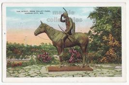 Kansas City MO Indian Scout & Horse Statue Penn Valley Park c1935 postca... - $3.63