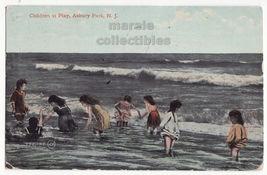 Asbury Park New Jersey NJ Children at Play on the Beach c1910 postcard M... - $7.31