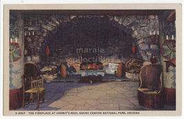 Fireplace at Hermit's Rest Grand Canyon AZ 1930s Fred Harvey postcard M8905 - $3.22