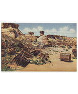 Petrified Wood and Erosions, Petrified Forest c1930s linen postcard AZ M... - $3.63