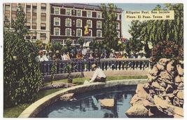 El Paso TX - Alligator Pool, San Jacinto Plaza c1940s linen postcard M8916 - $4.55