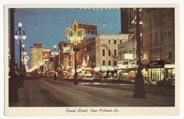NEW ORLEANS LA~ CANAL STREET AT DUSK ~ STREET LIGHTS & STORES c1960s pos... - $4.55