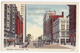 LOUISVILLE KY BROADWAY STREET VIEW c1930s vintage Kentucky postcard - $3.22
