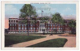 ELGIN ILLINOIS HIGH SCHOOL BUILDING~c1930s-1940s vintage postcard - IL - $3.63