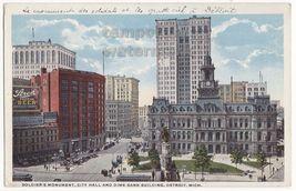 DETROIT MI~SOLDIERS MONUMENT~CITY HALL~DIME BANK BUILDING 1910s postcard - $3.63