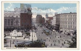 DETROIT MI MONROE AVENUE STREET SCENE~THEATERS -TRAM - AD SIGNS~c1910s p... - $8.23