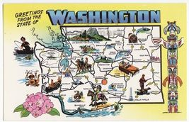 GREETINGS FROM WASHINGTON - WA STATE SYMBOLS c1960s illustrated map post... - $3.63