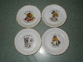 4 Vintage Dishes Coasters Dogs Drinking w/ Comments -Ardalt Japan Style ... - $8.29