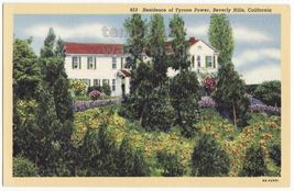 Beverly Hills Ca  Actor Film Star Tyrone Power Home  ~1930s Vintage Postcard - $4.55