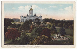 Hartford CT, State Capitol and Bushnell Park -1920s vintage Connecticut ... - $3.22
