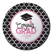 "Glamorous Grad Pink Black 7"" Dessert Plates 18 Value Size Graduation - £4.32 GBP"