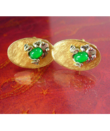 Kiss a FROG Cuff links gold frogger Toad whimsical jelly belly green chr... - $165.00