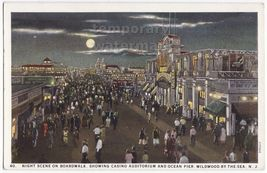 Wildwood by the Sea NJ Broadwalk Night View -Casino & Ocean Pier c1930s postcard - $4.55