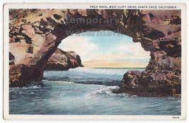 SANTA CRUZ CA Natural Arch Rock, West Cliff Drive c1930s unused postcard - $2.71