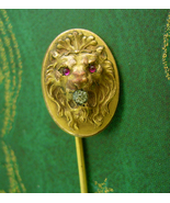 Antique fierce Lion STICKPIN ruby Jeweled Eyes Victorian stickpin paste ... - $245.00