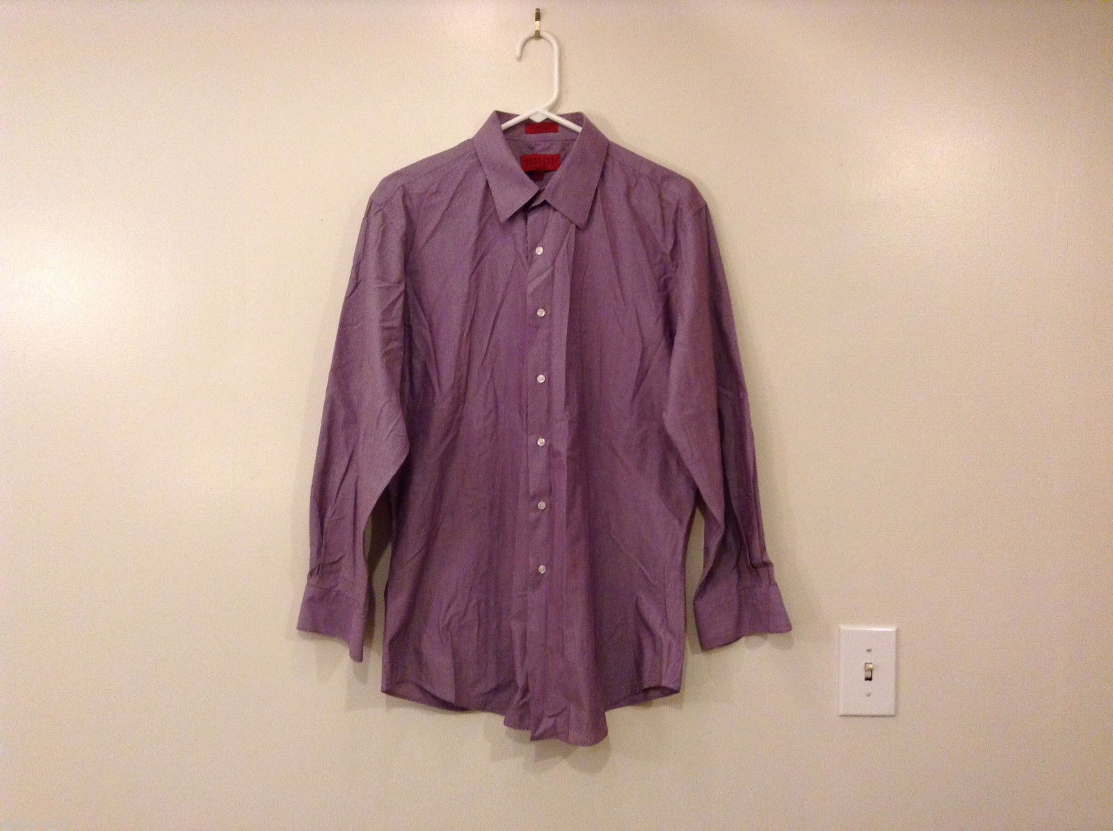 Bergamo New York Men's Size L (16-16.5 32-33) Purple Stripe Business Dress Shirt
