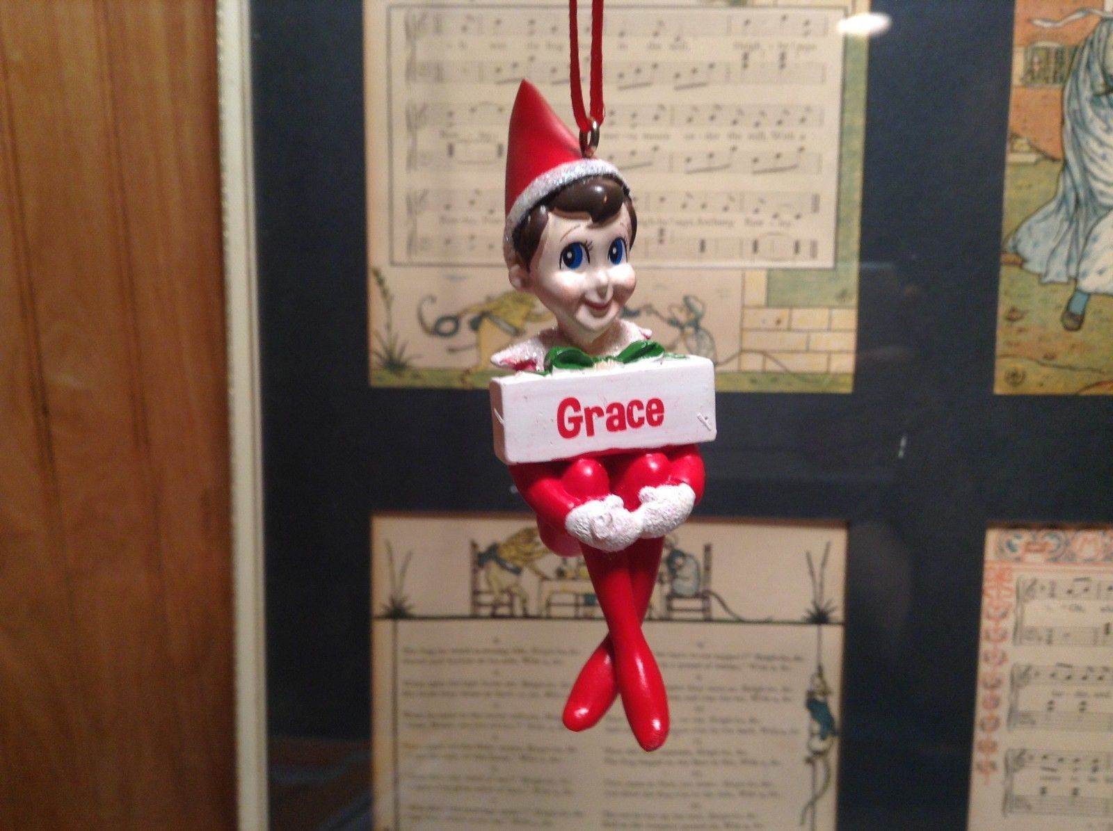Dept 56 - Elf on the Shelf - Grace  banner Christmas Ornament