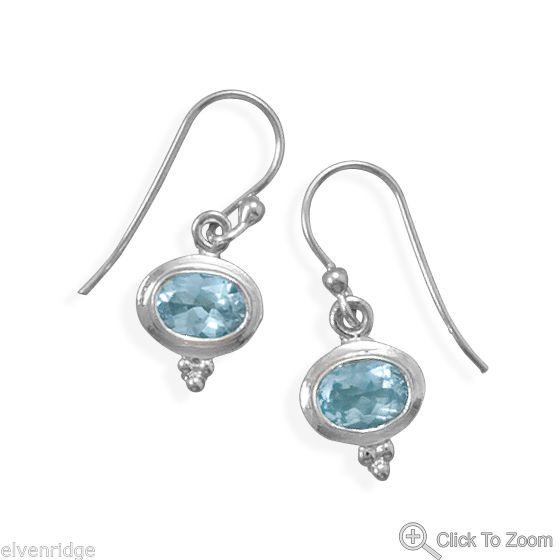 Polished Oval Blue Topaz French Wire Earrings