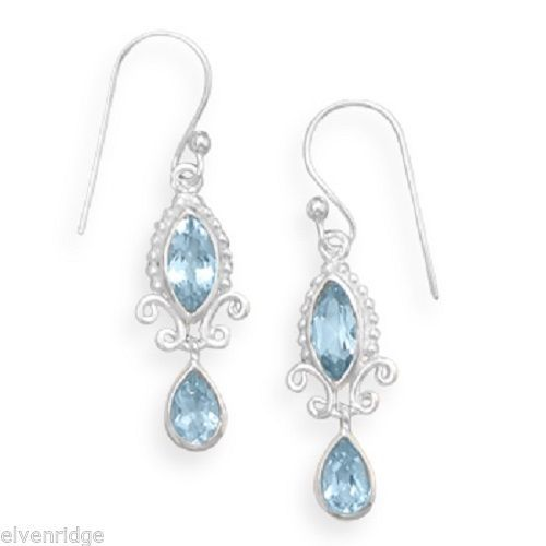 Multishape Blue Topaz Earrings Marquise Pear Sterling Silver