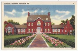 ANNAPOLIS MARYLAND MD Governors Mansion  c1930s-40s vintage postcard - $3.63