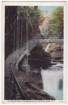 WATKINS GLEN NY, Flying Stairs at Rainbow Falls c1910s-1920s vintage pos... - $3.22