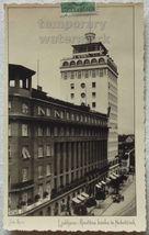 SLOVENIA LJUBLJANA NEBOTICNIK BANK - STREET VIEW~1930s Slovenija postcard - $6.90