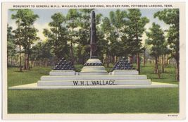 PITTSBURG LANDING TN~GENERAL WALLACE MONUMENT~SILOAH PARK~c1940s postcard - $3.63