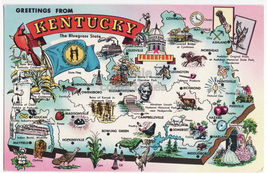 Greetings From Kentucky  Illustrated Map C1960s Ky Postcard - $3.22