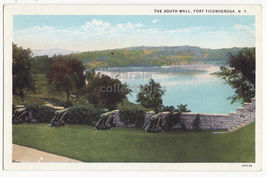 Fort Ticonderoga NY, South Wall Cannons & Lake Champlain 1920s vintage p... - $3.22