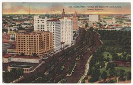 MIAMI FLORIDA BISCAYNE BOULEVARD BIRDS EYE VIEW ~HOTEL BUILDINGS c1946 p... - $3.63
