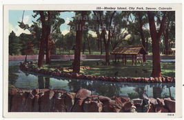 Denver CO Monkey Island, City Park  c1930s vintage Colorado postcard - $2.71