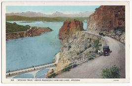 APACHE TRAIL ABOVE ROOSEVELT DAM & LAKE AZ ARIZONA c1920s scenic old pos... - $3.22
