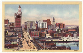 Baltimore MD, Light Street - Wharves~City Skyline Early View~c1930s-40s ... - $3.63