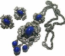 VINTAGE ART DECO NAPIER LAPIS BLUE GLASS SILVER TONE NECKLACE EARRINGS D... - $350.00