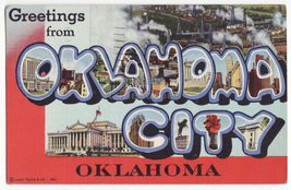 Greetings from Oklahoma City OK 1940s large letter Curt Teich postcard - $3.63