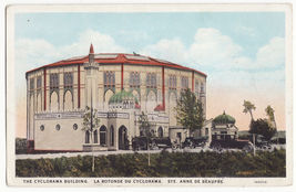 St Anne De Beaupre Qc Canada ~ Cyclorama Building & Parked Cars 1930s Postcard - $7.31