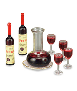 DOLLHOUSE Wine Decanter Set 1.757/5 Reutter Filled Bottles Glasses Minia... - $30.40