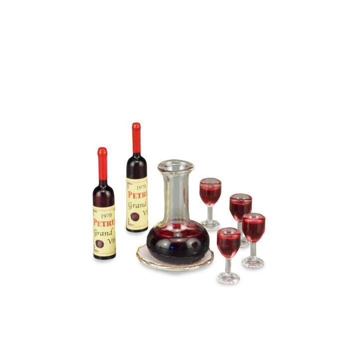 DOLLHOUSE Wine Decanter Set 1.757/5 Reutter Filled Bottles Glasses Miniature