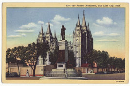 SALT LAKE CITY UTAH Pioneer Monument & Street View c1947 postcard~Brigham Young - $2.71