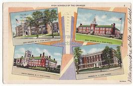 Orange NJ - High Schools of the Oranges - 4 views - 1930s vintage postcard - $3.63