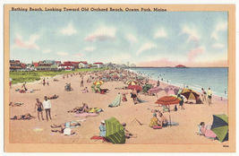 Ocean Park ME ~ View towards Orchard Beach c1950s vintage linen Maine postcard - $4.55