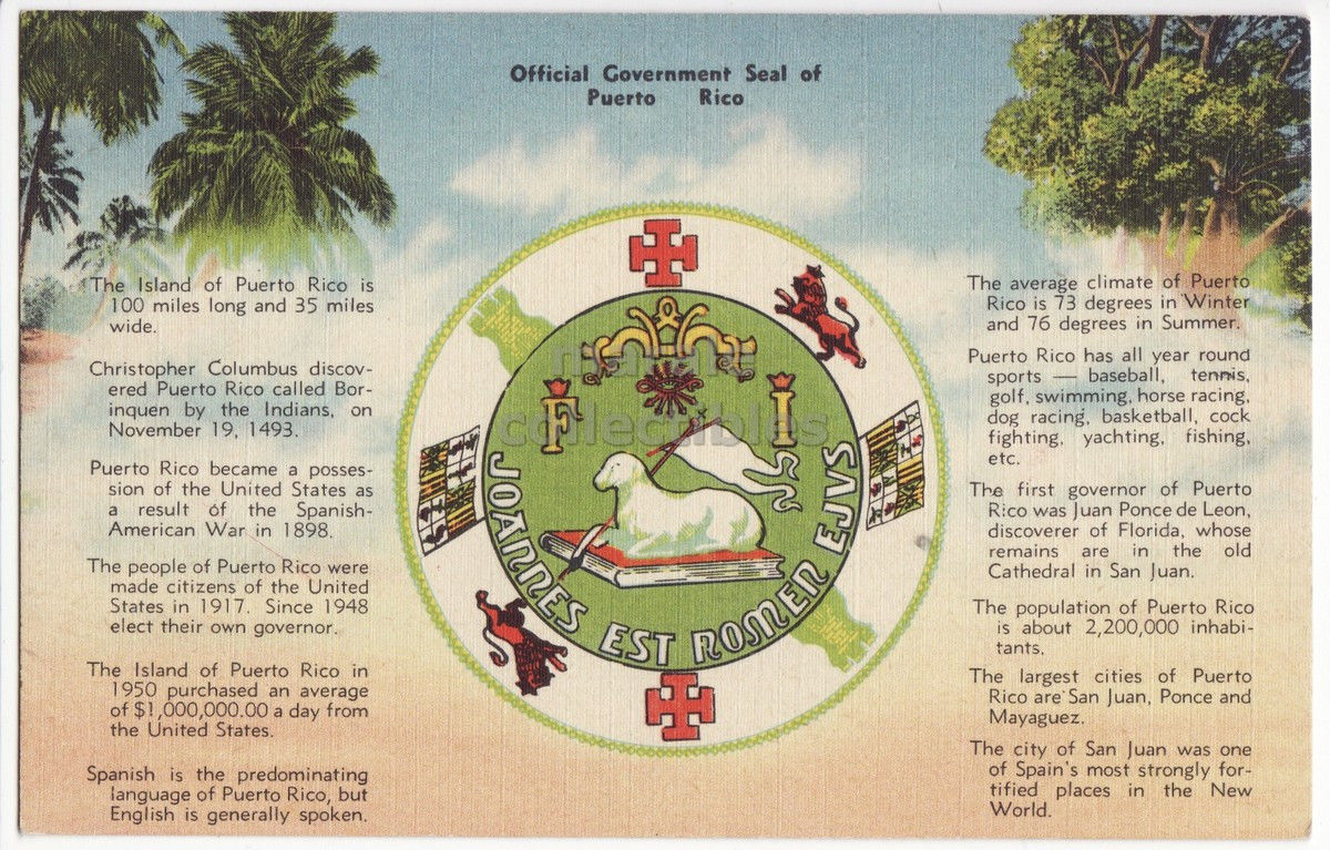 Puerto rico greetings postcard official and 15 similar items puerto rico greetings postcard official government seal territory facts m4hsunfo