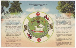 PUERTO RICO GREETINGS POSTCARD ~ OFFICIAL GOVERNMENT SEAL ~ TERRITORY FACTS - $3.63