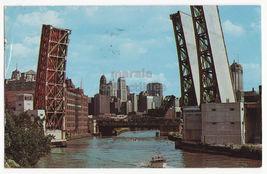 Chicago IL Ontario Street Lift Bridge on Chicago River c1962 postcard - $3.45