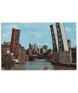 Chicago IL Ontario Street Lift Bridge on Chicago River c1962 postcard - $3.85
