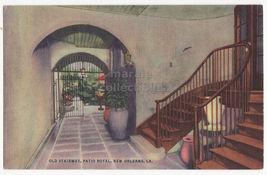 New Orleans La ~ Old Stairway, Patio ~Royal Restaurant Building 1950s Postcard - $2.71