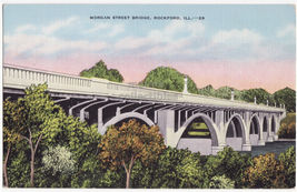 ROCKFORD IL, Morgan Street Bridge c1930s-40s linen vintage postcard - $8.23