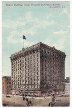 VANCOUVER BC~ROGERS BUILDING, Corner Garnville & Pender Streets c1910s p... - $8.23