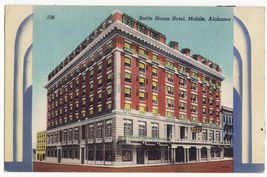 Mobile Alabama, Battle House Hotel Building c1940s Art Deco postcard ~AL - $4.14